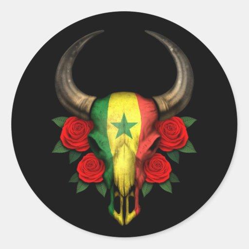 Crâne de Taureau de drapeau du Sénégal avec les Autocollant Rond