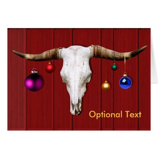 Crâne de vache avec des ornements de Noël sur la g Cartes