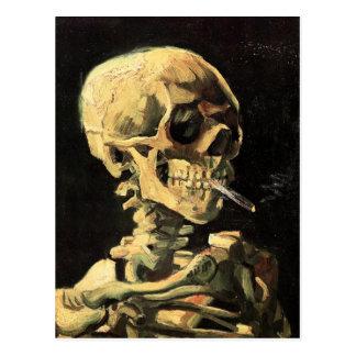 Crâne de Van Gogh avec la carte postale brûlante