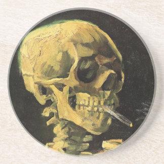 Crâne de Van Gogh avec la cigarette brûlante, art Dessous De Verre