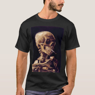 crâne de Van Gogh avec une cigarette brûlante T-shirt
