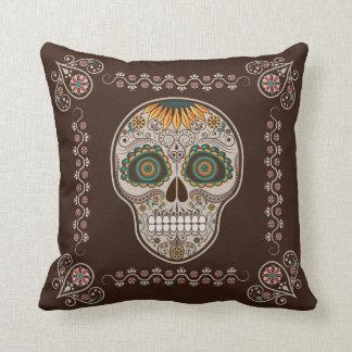 Crâne décoratif de tournesol de Dia de los Muertos Oreillers