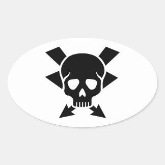 Crâne d'électricien sticker ovale