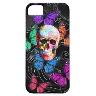 Crâne d'imaginaire et papillons colorés coques iPhone 5 Case-Mate