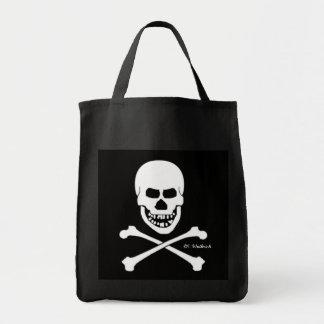 Crâne effrayant de pirate et os croisés Halloween Sacs De Toile