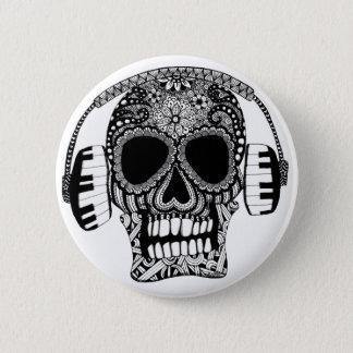 Crâne embrouillé avec le Pin de bouton d'écouteurs Badges