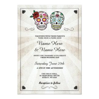 Crâne épousant l'invitation gothique de crânes de carton d'invitation  12,7 cm x 17,78 cm