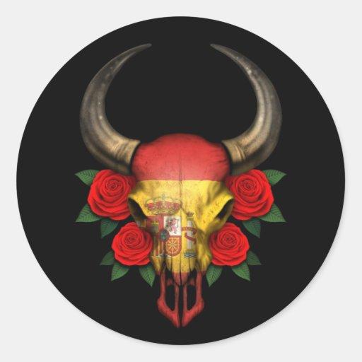 Crâne espagnol de Taureau de drapeau avec les rose Adhésifs Ronds
