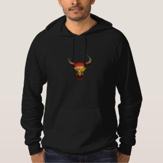 Crâne espagnol de Taureau de drapeau Pull À Capuche