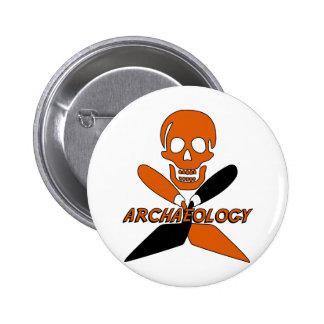 Crâne et archéologie croisée de truelles badge rond 5 cm