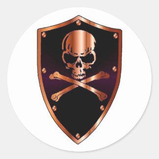 Crâne et bouclier d'os de croix autocollants