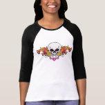Crâne et coeurs flamboyants t-shirt