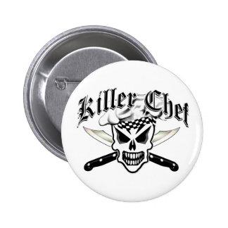 Crâne et couteaux croisés 2 de chef de chef badge rond 5 cm