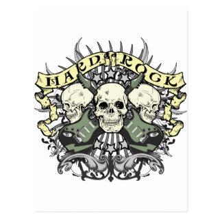 Crâne et guitares de hard rock cartes postales