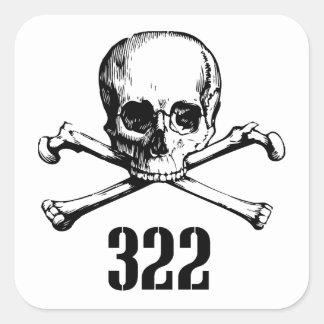 Crâne et os 322 autocollants carrés