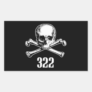 Crâne et os 322 sticker rectangulaire