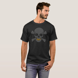 Crâne et os croisés avec des dents d'or t-shirt