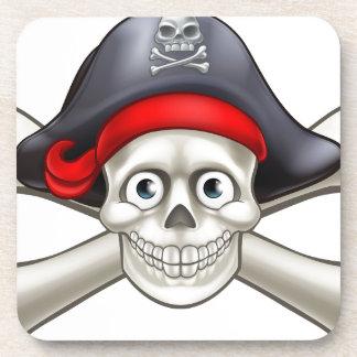 Crâne et os croisés de bande dessinée de pirate dessous-de-verre