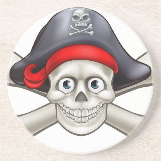 Crâne et os croisés de bande dessinée de pirate dessous de verres