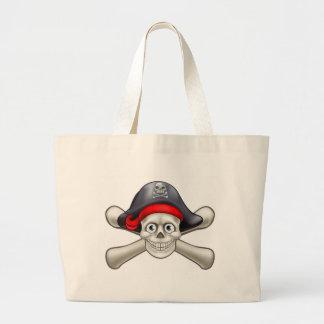 Crâne et os croisés de bande dessinée de pirate grand sac