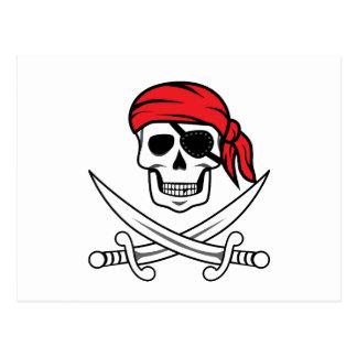 Crâne et os croisés de pirate carte postale