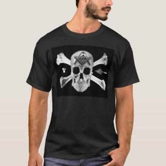 Crâne et os maçonniques, carré et boussole, t-shirt