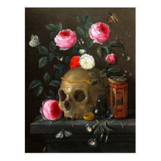 Crâne et roses carte postale