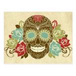 Crâne et roses, jour coloré de la carte morte 2 cartes postales