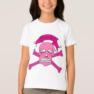 Crâne et T-shirts et cadeaux roses d'os croisés