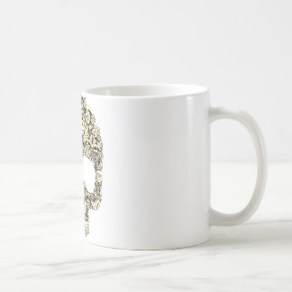 Crâne fleuri fleuri mug blanc