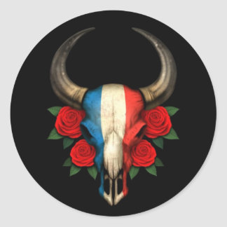 Crâne français de Taureau de drapeau avec les Adhésif Rond