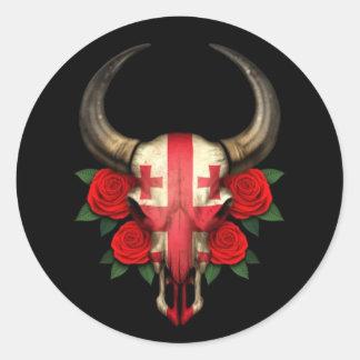 Crâne géorgien de Taureau de drapeau avec les Autocollant Rond