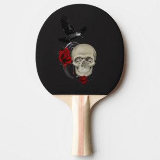 Crâne gothique avec rose et Raven Raquette Tennis De Table