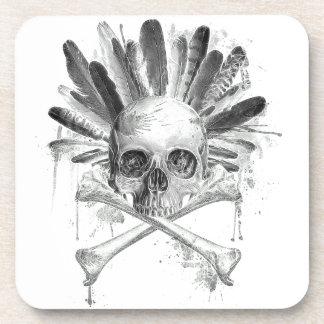 Crâne gothique de style tribal - la croix désosse sous-bock