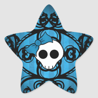 Crâne gothique mignon sur le bleu et le noir autocollants