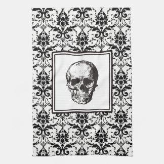 Crâne gothique noir de motif de damassé de linge de cuisine