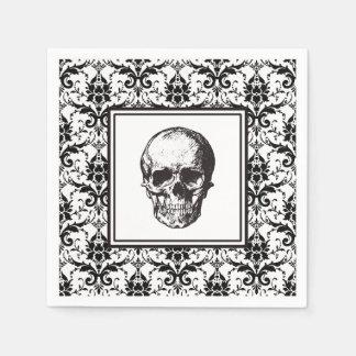 Crâne gothique noir de motif de damassé de serviette en papier