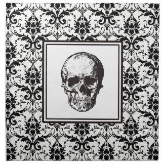 Crâne gothique noir de motif de damassé de serviettes de table