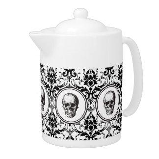 Crâne gothique noir de motif de damassé de style