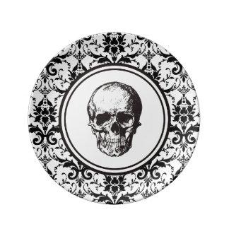 Crâne gothique noir de motif de damassé de style assiette en porcelaine
