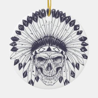 Crâne indien ornement rond en céramique