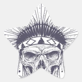 Crâne indien sticker étoile