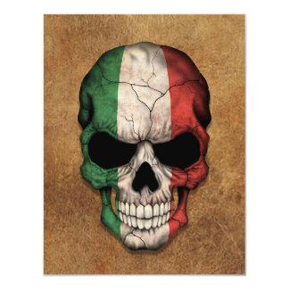 Crâne italien âgé et utilisé de drapeau