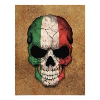 Crâne italien âgé et utilisé de drapeau bristols