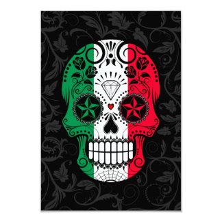 Crâne italien de sucre de drapeau avec des roses carton d'invitation 8,89 cm x 12,70 cm