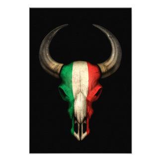 Crâne italien de Taureau de drapeau sur le noir Bristol Personnalisé