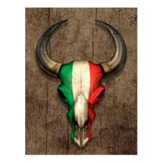 Crâne italien de Taureau de drapeau sur l'effet en Cartes Postales