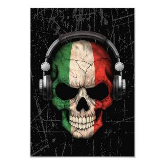 Crâne italien rayé du DJ avec des écouteurs Carton D'invitation 8,89 Cm X 12,70 Cm