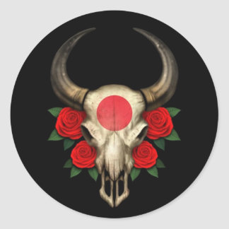 Crâne japonais de Taureau de drapeau avec les Autocollants Ronds
