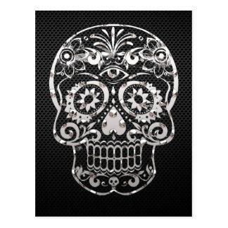 Crâne, métal argenté noir 04 carte postale